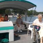 Mom on pontoon boat